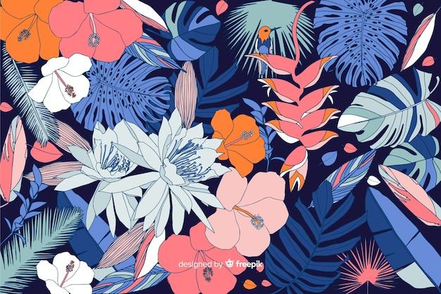 Тропический цветочный фон в стиле 2d