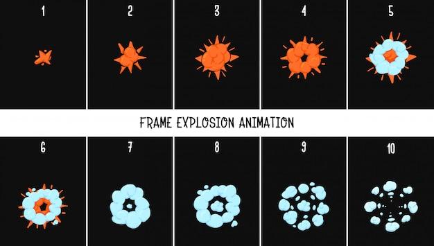2dの古典的なアニメーションの爆発。