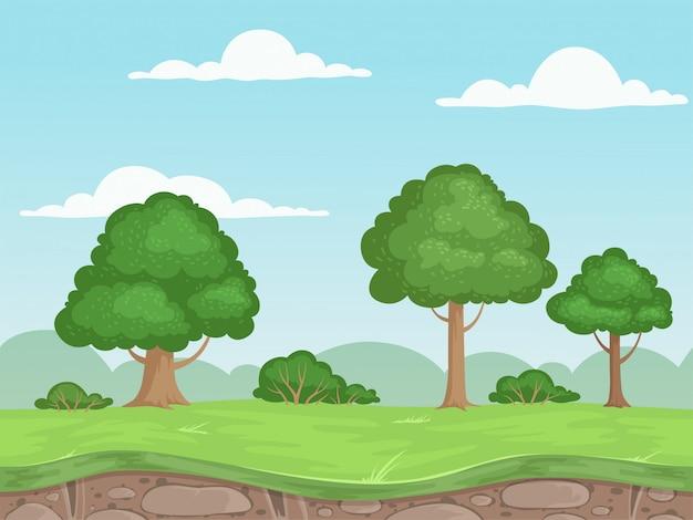 シームレスなゲーム自然風景。 2dゲームの屋外の山の木と雲のイラストの視差の背景