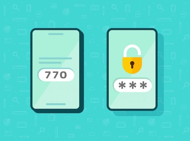 2faアイコンパスワード安全なログイン認証検証またはsmsプッシュコードメッセージシンボルスマートフォン携帯電話フラット分離ピクトグラム