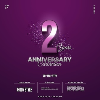 2nd anniversary party invitation with date numbers