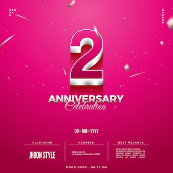 2nd anniversary party invitation with double layered numbers