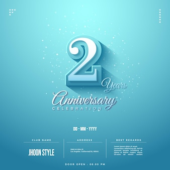 2nd anniversary party invitation with embossed 3d numbers