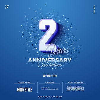2nd anniversary party invitation with embossed and shaded numbers