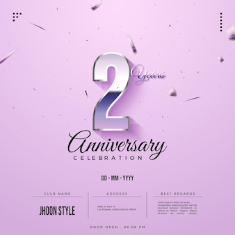 2nd anniversary party invitation with glass numbers