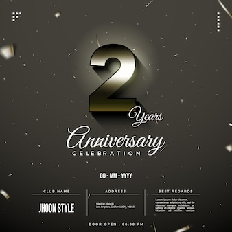 2nd anniversary party invitation with glowing numbers