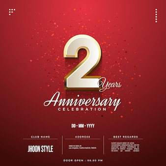 2nd anniversary party invitation with gold bordered numbers