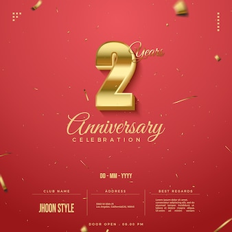 2nd anniversary party invitation with golden numbers