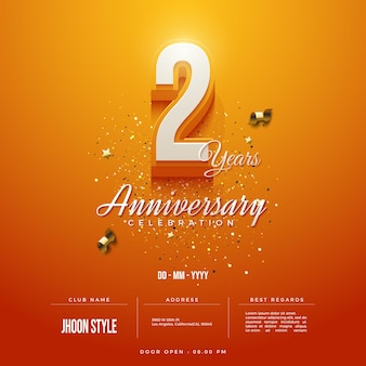 2nd anniversary party invitation with orange background