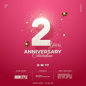 2nd anniversary party invitation with soft white numbers