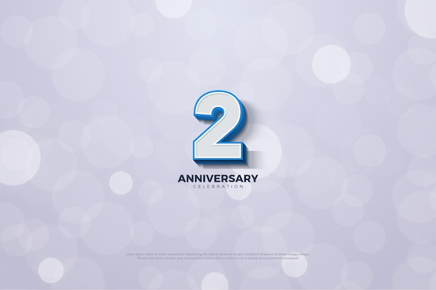 3d 숫자와 굵은 파란색 테두리가있는 2 주년.