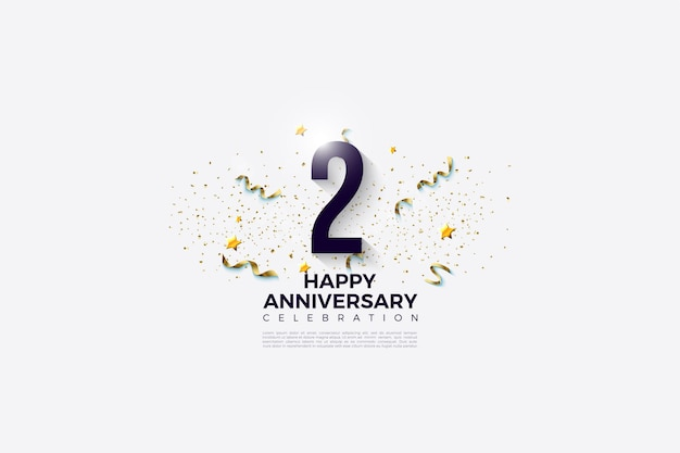 2nd anniversary with numbers and festive party on white background.