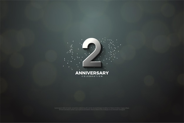 2nd anniversary with silver numerals and glitter illustrations.