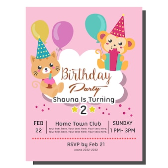 2nd birthday party invitation card template with cute cat monkey