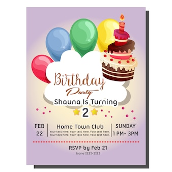 2nd birthday party invitation card with balloon and candle balloon