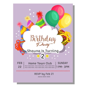 2nd birthday party invitation card with hat balloon present