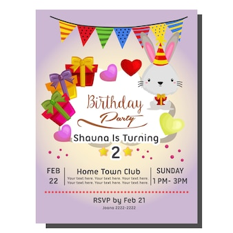 2nd Birthday Party Invitation Card With Rabbit And Present