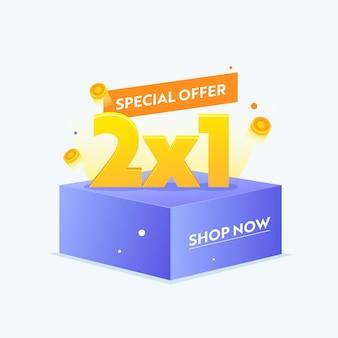 2x1 special offer banner for digital social media marketing advertising. hot sale, weekend shopping, half price seasonal discount poster or flyer design, shop now promotion. vector illustration