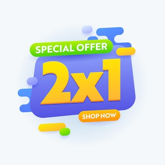 Специальное предложение 2x1 распродажа баннерная реклама, дизайн рекламной карты за полцены для скидки на покупки, реклама промо-контента в социальных сетях, плакат или шаблон флаера. векторные иллюстрации