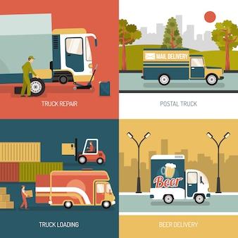 Доставка грузовиков 2x2 концепция дизайна