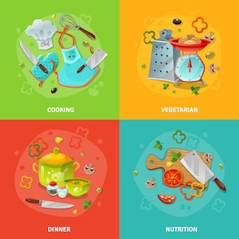Кулинария 2x2 концепция дизайна