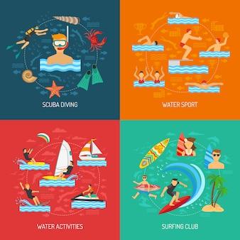 Водный спорт 2x2 концепция дизайна