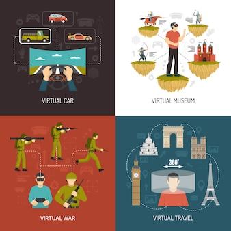 Виртуальная реальность игры 2x2 концепция дизайна