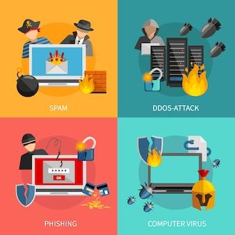 Хакер 2x2 плоский дизайн концепции