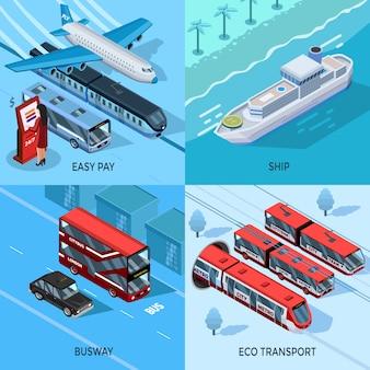 Концепция дизайна пассажирского транспорта изометрические 2x2