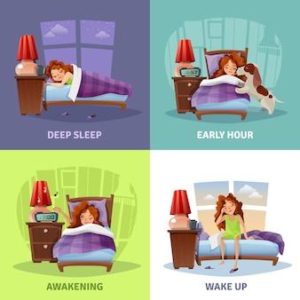 Утреннее пробуждение 2x2 концепция дизайна