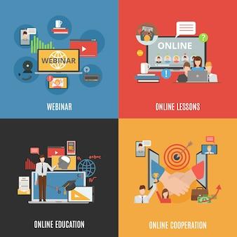 2x2 концепция набора иконок веб-семинаров