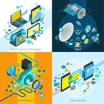 Телеком изометрические 2x2 концепция дизайна