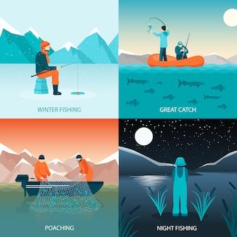 Рыбалка 2x2 концепция дизайна