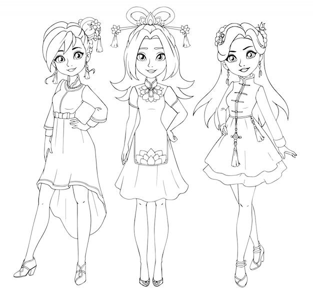 中国の伝統的な衣装を着ている3人の10代の少女。