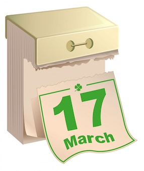 カレンダーの3月17日:聖パトリックの日。