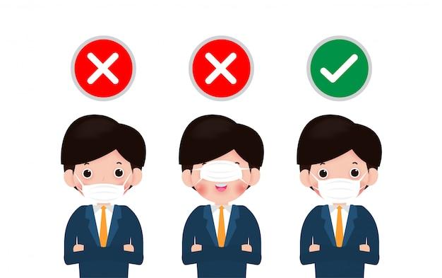 正しいマスクと間違ったマスクを着用する方法、3人の男性が保護マスクを正しく着用する方法を示します。コロナウイルスとコビッド-19疾患ベクターの蔓延を防ぐための新しい通常のライフスタイル