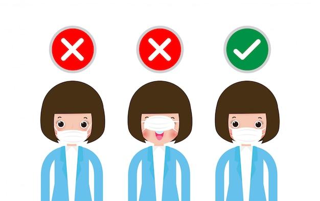 正しいマスクと間違ったマスクの着用方法、保護マスクの正しい着用方法を示す3人の女性。コロナウイルスとコビッド-19疾患の蔓延を防ぐための新しい通常のライフスタイル