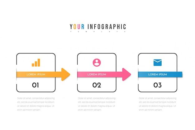 3つのステップまたは3つのオプションを持つインフォグラフィックテンプレート。