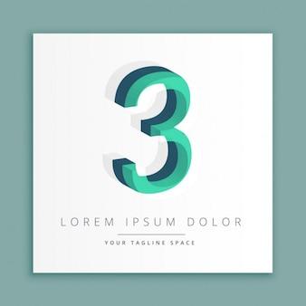 番号3の3d抽象的なスタイルのロゴ