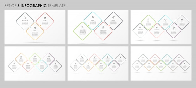アイコンと3、4、5、6、7、8のオプションまたは手順で設定されたインフォグラフィック。ビジネスコンセプトです。