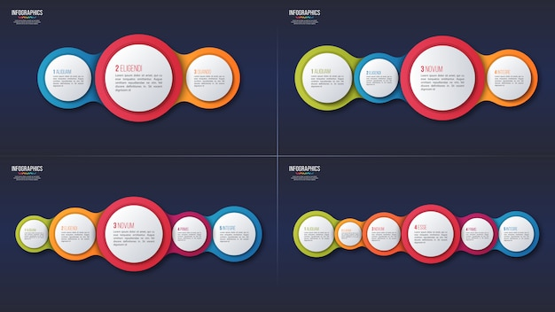 3 4 5 6 options infographic designs, presentation template