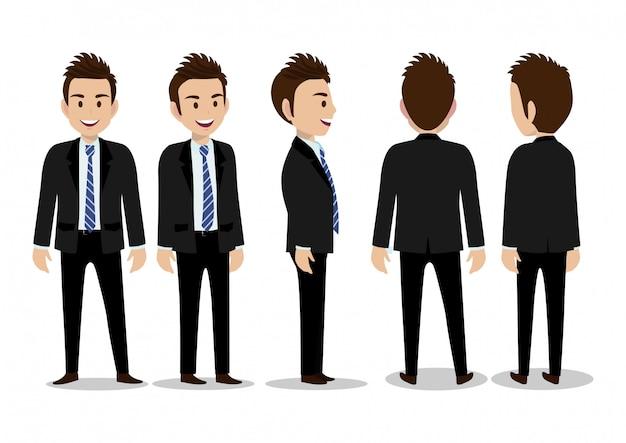 Мультипликационный персонаж с деловой человек в костюме для анимации. спереди, сбоку, сзади, 3/4 вид персонажа. отдельные части тела. плоские векторные иллюстрации