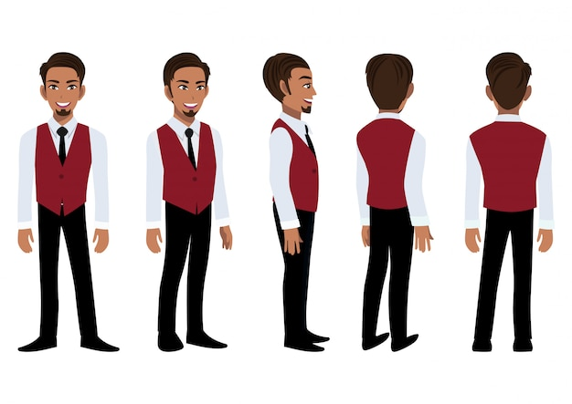 スマートシャツとアニメーションのチョッキの実業家漫画のキャラクター。フロント、サイド、バック、3-4ビューのキャラクター。フラットアイコンデザインのベクトル