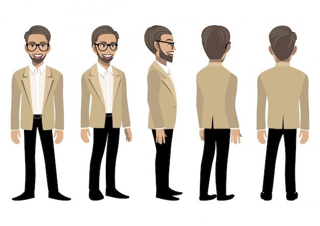 アニメーションのスマートスーツのビジネスマンと漫画のキャラクター。正面、側面、背面、3-4ビューのアニメーションキャラクター。フラットのベクトル図。