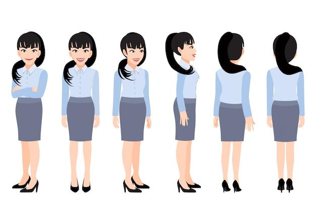 アニメーションのスマートシャツのビジネスウーマンと漫画のキャラクター。正面、側面、背面、3-4ビューのキャラクター。