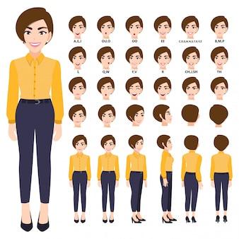 アニメーションのスマートシャツのビジネスウーマンと漫画のキャラクター。正面、側面、背面、3-4ビューのキャラクター。体の別々の部分。