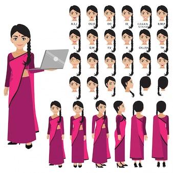 アニメーションのサリードレスのインドビジネス女性と漫画のキャラクター。正面、側面、背面、3-4ビューのキャラクター。体の別々の部分。フラットの図。
