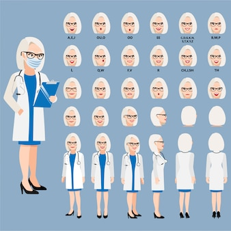 アニメーションのスマートな制服を着たプロの医者と漫画のキャラクター。フロント、サイド、バック、3〜4のビューキャラクター。体の別々の部分。フラットの図。