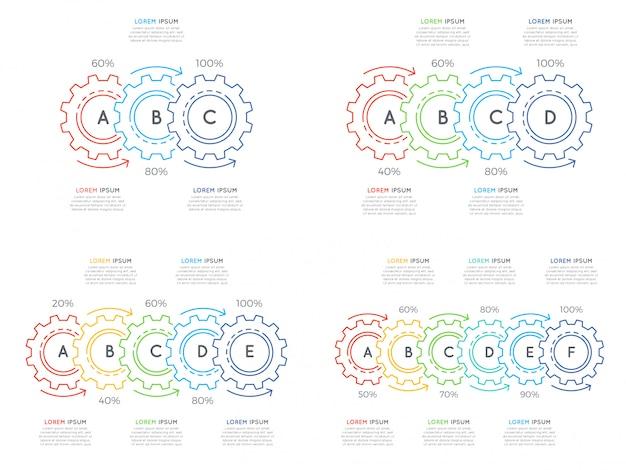 Набор шаблонов инфографики тонкой линии с 3-6 шагов