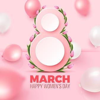 幸せな女性の日グリーティングカード。 3月8日のはがき。数8形、チューリップの束、バラ色の背景にピンクと白の風船。女性の日テンプレート。